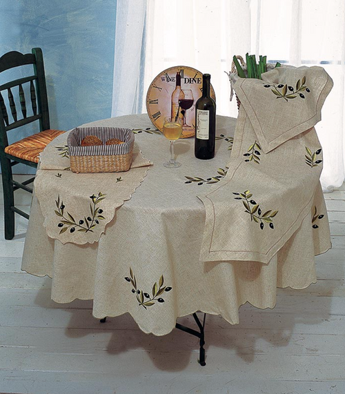 Tablecloth Round 150cm Olives 1412