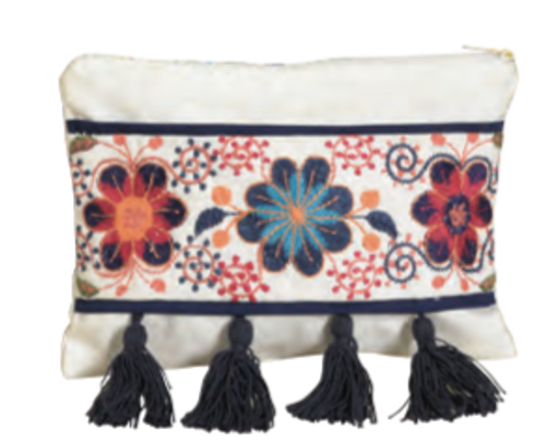Small  Clutch Bag - Embroidered Flowers and Tassels
