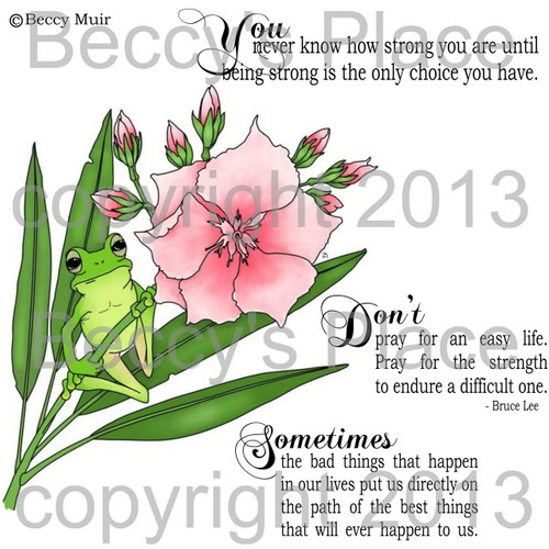 Frog and Oleander digital stamps