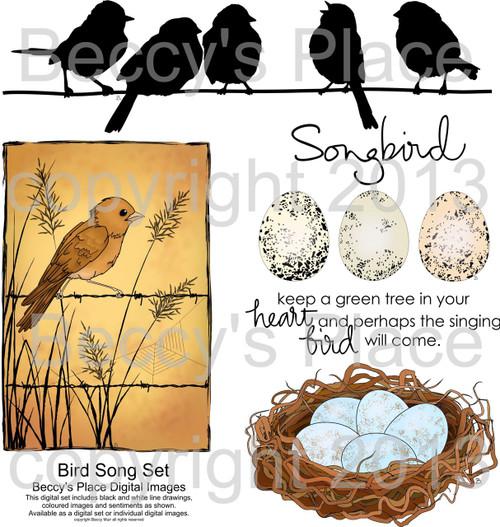 Birdsong digital stamps