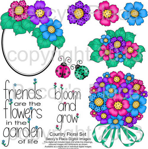 Country Floral digital stamps
