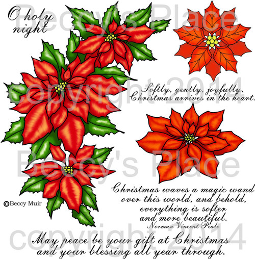 Poinsettia digital stamps