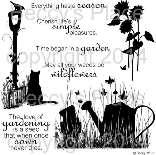 Garden Silhouette digital stamps