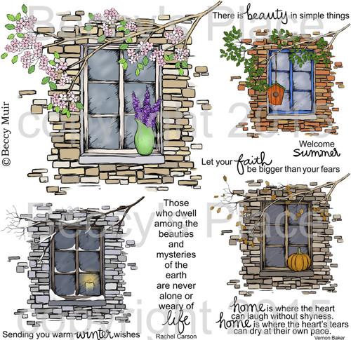 Seasonal Window digital stamps