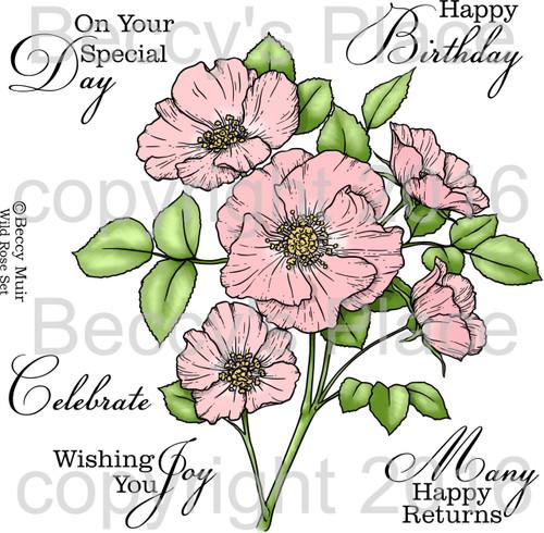 Wild Rose digital stamps