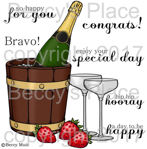 Champagne digital stamps