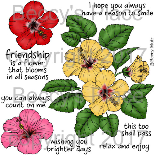 Hibiscus digital stamps