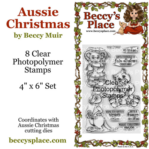 Aussie Christmas clear stamps