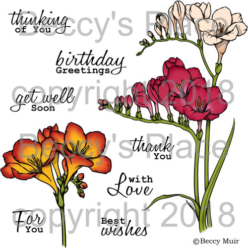 Simply Freesias digital stamps
