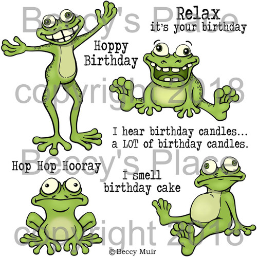 Frog Hop digital stamps
