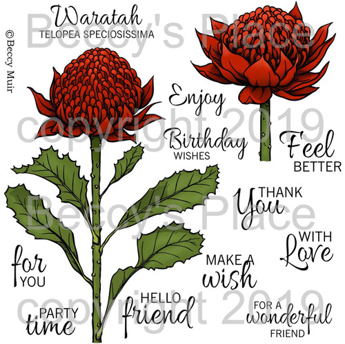Waratah digital stamp set