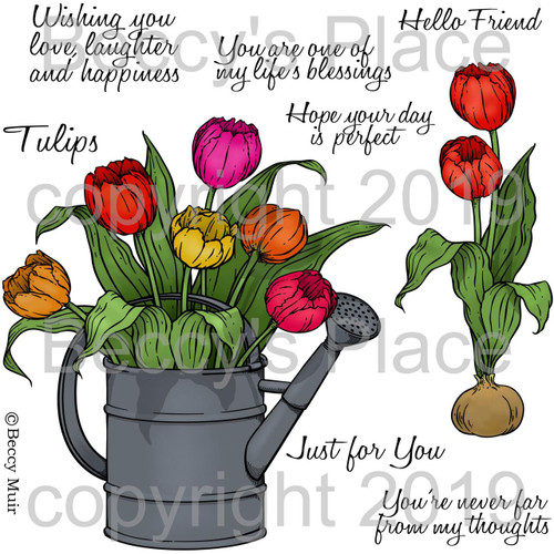 Spring Tulips digital stamps
