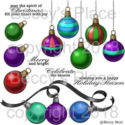 Festive Baubles digital stamps