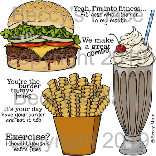 Burger and Fries digital stamps