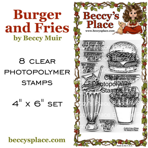 Burger and Fries clear stamps