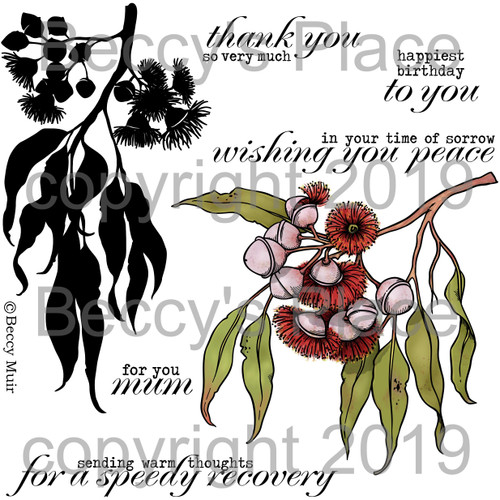 Eucalyptus digital stamps