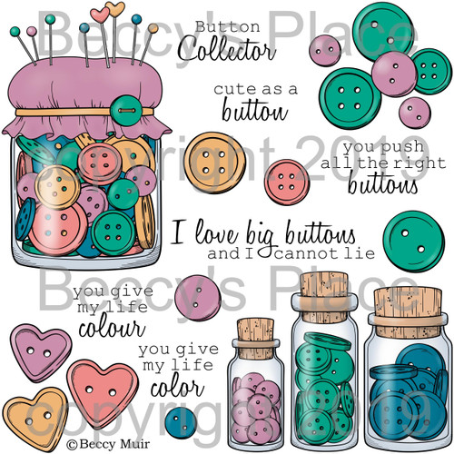 The Button Collector digital stamps