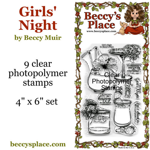 Girls' Night clear stamps
