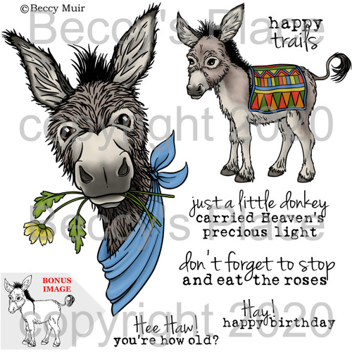 Little Donkey digital stamps