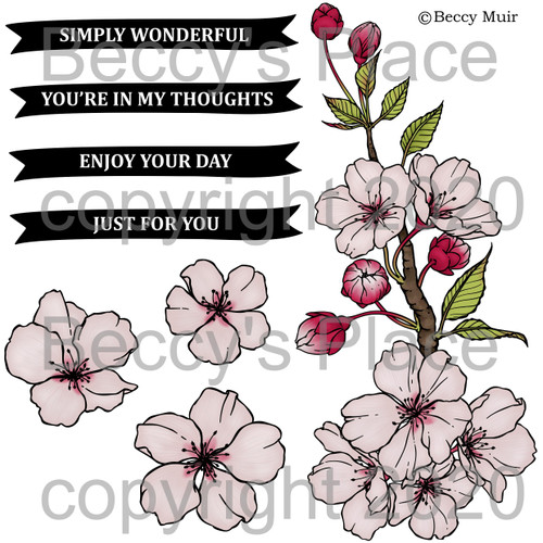 Cherry Blossom digital stamps