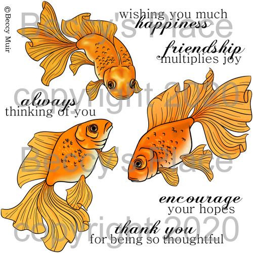 Fantail Goldfish digital stamps