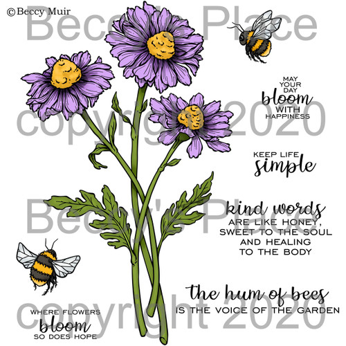 Bees and Blooms digital stamps