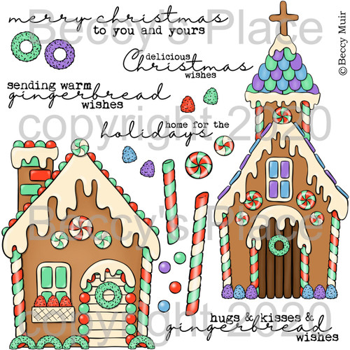 Gingerbread Wishes digital stamps