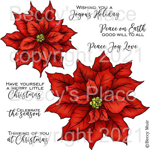 Christmas Blooms digital stamps