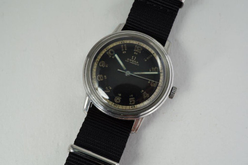 Omega CK2254 World War II steel stepped case from 1939 Royal Canadian Air Force dial vintage pre owned for sale houston fabsuisse