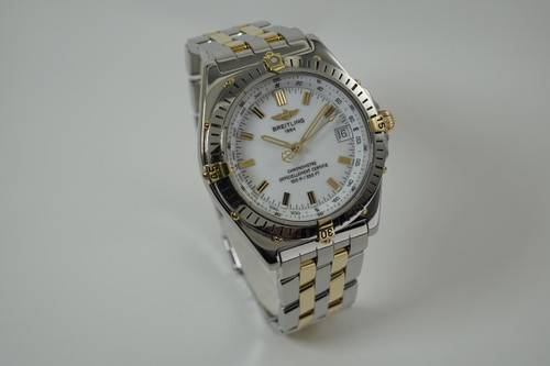 Breitling B10350 Wings Automatic steel & gold box & papers 2000's modern watch pre owned for sale houston fabsuisse