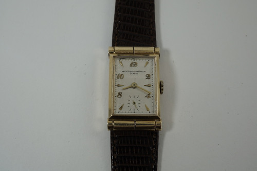 Vacheron Consantin Hooded Rectangle 14k pink gold c. 1940's vintage mechanical wind pre owne for sale houston fabsuisse