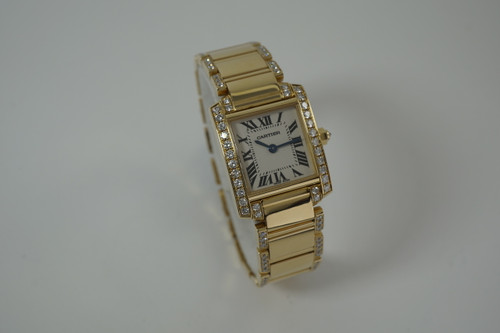 Cartier WE 1002 Tank Francaise facotry diamonds c. 2000's modern 18k yellow gold pre owned for sale houston fabsuisse
