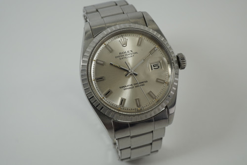 Rolex 1603 Datejust from 1968 stainless steel big block dial vintage all original automatic watch pre owned for sale houston fabsuisse