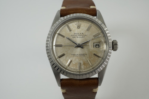 Rolex 1603 Datejust great patina'd dial stainless steel 1965 vintage pre owned for sale houston fabsuisse