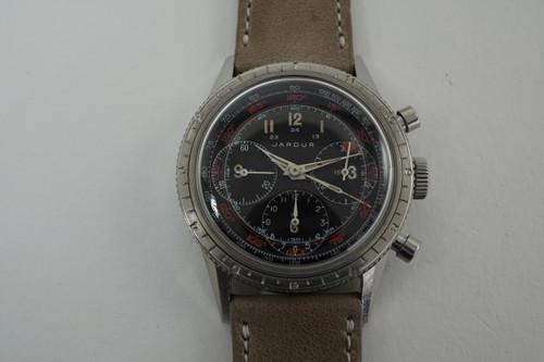 Jardur Bezelmeter 960 Chronograph Valjoux dates 1940's vintage watch pre owned for sale houston fabsuisse