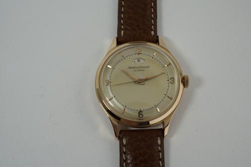 Jaeger LeCoultre Wind Indicator 18k rose gold dates 1950's vintage automatic original timepiece for sale houston fabsuisse