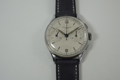 Baume & Mercier 908 Chronograph chrome & steel dates 1940's vintage original 36 mm pre owned for sale houston fabsuisse