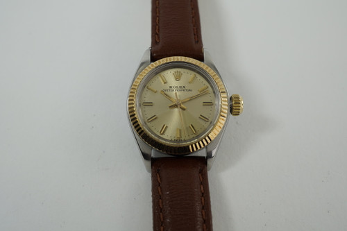 Rolex 6719 Oyster Perpetual ladies 14k  &stainless steel automatic 1973 vintage pre owned for sale houston fabsuisse