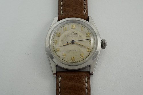 Rolex 4270 Oyster Elegante Precision stainless steel dates 1943 vintage early watch pre owned for sale houston fabsuisse