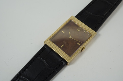 Rolex 4127 Cellini 18k yellow gold w/ exotic wood dial dates 1985 original vintage for sale houston fabsuisse
