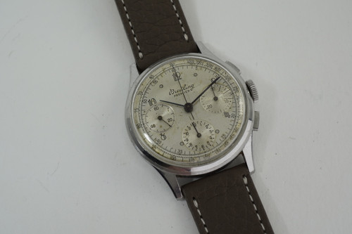 Breitling 787 Premier Chronograph stainless steel early 1940's vintage sporty pre owned for sale houston fabsuisse