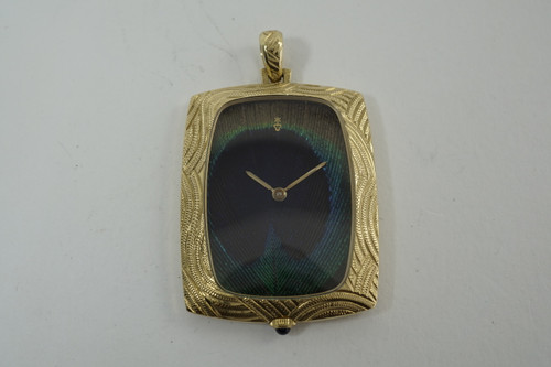 Corum Pendant Watch Peacock feather dial c. 1970's vintage pre owned for sale houston fabsuisse