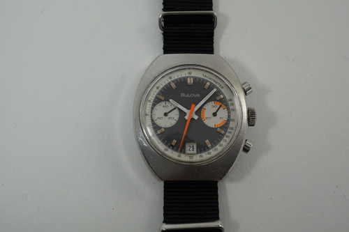 Bulova 'D', 909 Swiss Chronograph stainless  steel funky dates 1970's vintage original pre owned for sale houston fabsuisse