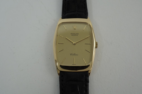 Rolex 4136 Cellini 18k yellow gold dress watch dates 1975 all original vintage for sale houston fabsuisse