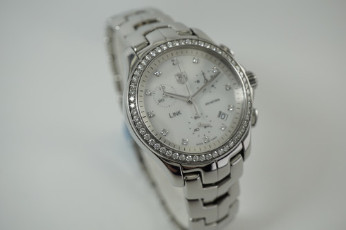 Tag Heuer CJF1314 Link Chronograph w/ diamonds dates 2010's modern quartz swiss mother of pearl dial for sale houston fabsuisse