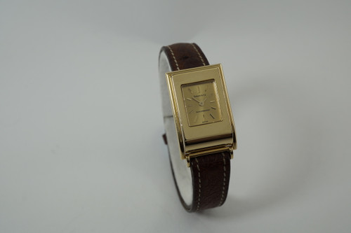 Tiffany & Co. Schlumberger Watch 18k yellow gold quartz dates 1990's ladies womens modern quartz pre owned for sale houston fabsuisse