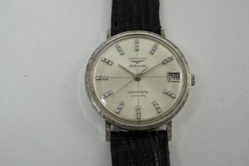 Longines 5 Star Admiral 14k white gold watch dates 1960's vintage automatic american market pre owned for sale houston fabsuisse