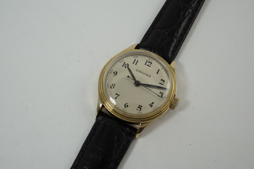 Longines Sweep Second Watch World War II era 14k yellow gold c. 1953 vintage pre owned for sale houston fabsuisse
