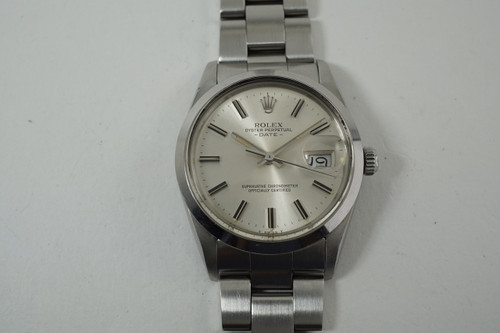 Rolex 15000 Date w/ original certificate, papers & box stainless steel c. 1987 vintage automatic pre owned for sale houston fabsuisse