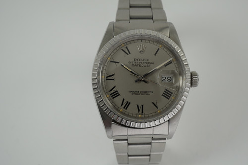 Rolex 16030 DateJust stainless steel w/ grey Buckley dial dates 1980-81 vintage automatic original pre owned for sale houston fabsuisse